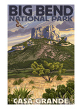 Big Bend National Park, Texas - Casa Grande Prints by Lantern Press 