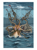 Kraken Attacking Ship Print by Lantern Press