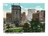 Cleveland, Ohio - Public Square East View Print by  Lantern Press