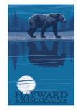 Hayward, Wisconsin - Bear at Night Art by  Lantern Press
