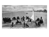 Daytona Beach, Florida - Crowds on Bicycles and in Cars Print by Lantern Press