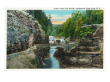 Letchworth State Park, New York - View of the Lower Falls Foot Bridge Posters by  Lantern Press