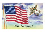 WWII Promotion - Keep 'em Flying, US Flag and Bomber Kunst von  Lantern Press