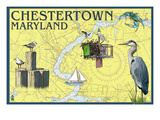 Chestertown, Maryland - Nautical Chart Prints by  Lantern Press