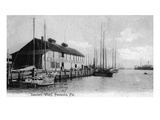 Pensacola, Florida - Saunders Wharf Scene Prints by  Lantern Press