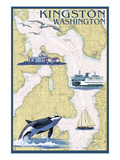 Kingston, Washington - Nautical Chart Posters by Lantern Press 