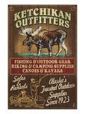 Ketchikan Outfitters Moose - Ketchikan, Alaska Posters by Lantern Press 