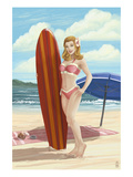 Pinup Girl Surfing Prints by  Lantern Press