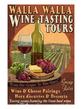 Wine Tasting - Walla Walla, Washington Art by  Lantern Press