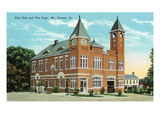 Mt. Carmel, Illinois - City Hall and Fire Dept. Exterior View Poster by  Lantern Press