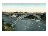 Niagara Falls, New York - Upper Arch Bridge Connecting Canada and USA Prints by  Lantern Press