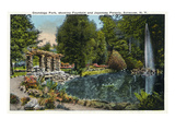 Syracuse, New York - Fountain and Japanese Pergola at Onondaga Park Prints by  Lantern Press