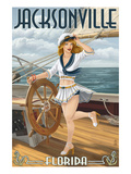 Jacksonville, Florida - Sailing Pinup Girl Prints by  Lantern Press