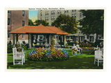 Rochester, Minnesota - View of the Damon Hotel Park Poster by  Lantern Press