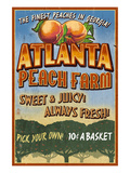 Peaches - Atlanta, Georgia Art by  Lantern Press