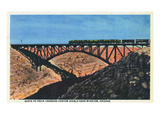 Arizona - Santa Fe Train Crossing Canyon Diablo Near Winslow Poster by  Lantern Press