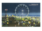 Wildwood, New Jersey - Wildwood-By-The-Sea Playland at Night View Prints by  Lantern Press