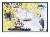 Annapolis, Maryland - Nautical Chart Prints by  Lantern Press