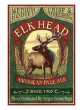 Oregon - Elk Head American Pale Ale Prints by Lantern Press