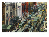 Kansas City, Missouri - General Northern View Up Walnut Street from Tenth Street Poster by  Lantern Press