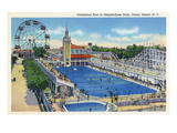 Coney Island, New York - Steeplechase Park Swimming Pool View Art by  Lantern Press