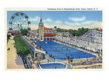 Coney Island, New York - Steeplechase Park Swimming Pool View Art by  Lantern Press