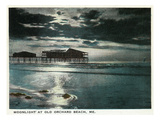 Old Orchard Beach, Maine - Moonlight Scene Print by  Lantern Press
