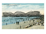 Long Beach, California - Panoramic View of the Roller Coaster Print by  Lantern Press