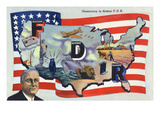 WWII Promotion - Democracy in Action, FDR by US Flag Poster by  Lantern Press