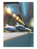 Blimps in Hangar Prints by  Lantern Press