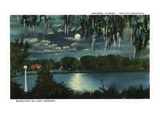 Orlando, Florida - Moonlit Lake Cherokee Scene Print by Lantern Press