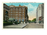 Rochester, Minnesota - Exterior View of the Hotel Zumbro and the Kahler Posters by  Lantern Press
