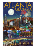Atlanta, Georgia - Skyline at Night Poster by  Lantern Press