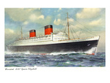 View of Cunard Ocean Liner Queen Elizabeth Posters by Lantern Press 