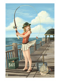 Pinup Girl Fishing on Ocean Posters by  Lantern Press