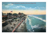 Old Orchard Beach, Maine - Eastern View from the Pier Prints by  Lantern Press