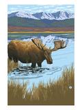 Moose in Lake Poster by  Lantern Press
