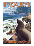 Heceta Head Lighthouse - Sea Lions Art by  Lantern Press