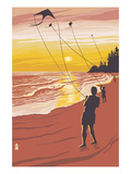 Kite Flyers at Sunset Prints by  Lantern Press