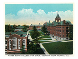 Decatur, Georgia - Agnes Scott College for Girls Campus Scene Art by  Lantern Press