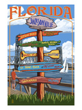 Jacksonville, Florida - Sign Destinations Poster by  Lantern Press