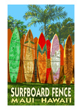 Maui, Hawaii - Surfboard Fence Print by Lantern Press