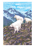 Mountain Goat Family Prints by Lantern Press 