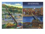 Pittsburgh, Pennsylvania - View of Monongahela Incline on Mt. Washington Kunst von  Lantern Press