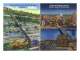 Pittsburgh, Pennsylvania - View of Monongahela Incline on Mt. Washington Prints by  Lantern Press