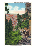 Grand Canyon Nat'l Park, Arizona - Men on Burros on the Bright Angel Trail Posters by  Lantern Press