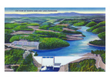 Norris, Tennessee - Aerial View of Norris Dam and Norris Lake Art by Lantern Press