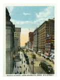 Minneapolis, Minnesota - Southern View Down Grand Avenue from Eighth Street Posters by Lantern Press