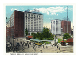 Cleveland, Ohio - Public Square West View Prints by  Lantern Press
