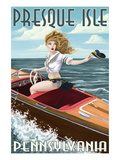 Presque Isle, Pennsylvania - Pinup Girl Boating Prints by  Lantern Press